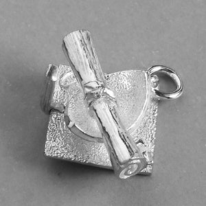 Mortar Board and Scroll Charm in Sterling Silver or Gold