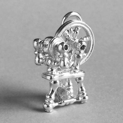 Mechanical Spinning Wheel Charm in Sterling Silver or Gold