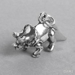 Sterling Silver Triceratops Dinosaur Charm