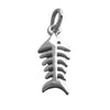 Fish Bones Charm Sterling Silver Skeleton Pendant | Silver Star Charms