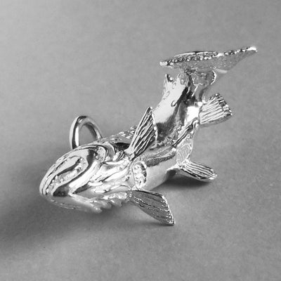 Sterling Silver or Gold Trout Fish Charm Pendant