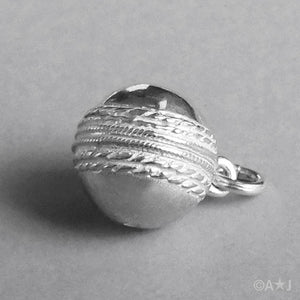 Cricket Ball Pendant in Sterling Silver or Gold