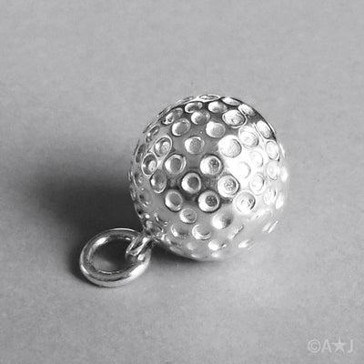 Golf Ball Charm in Sterling Silver or Gold