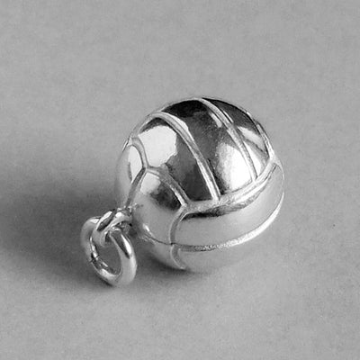 Volleyball Charm Pendant in Sterling Silver or Gold