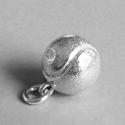 Tennis Ball Charm Pendant in Sterling Silver or Gold