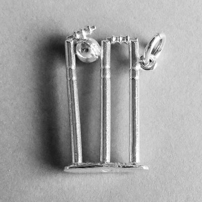 Cricket Wicket and Ball Pendant in Sterling Silver or Gold