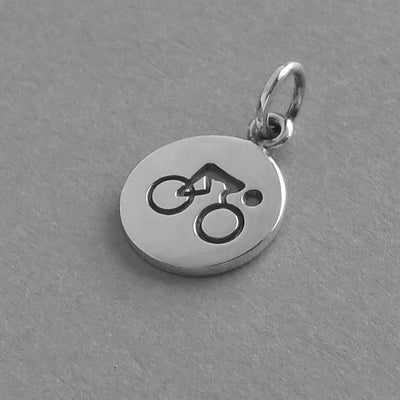 Bicycle Charm Sterling Silver Sport Pendant | Silver Star Charms