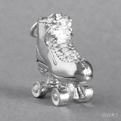 Moving Roller Skate Pendant in Sterling Silver or Gold
