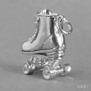 Moving Roller Skate Charm in Sterling Silver or Gold