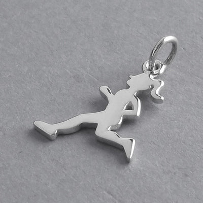 Female Running Charm Sterling Silver Marathon Runner Pendant | Silver Star Charms