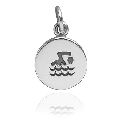Swimming Charm Sterling Silver Sport Pendant | Silver Star Charms