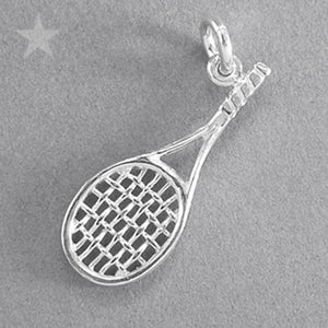 Tennis Racquet Pendant in Sterling Silver or Gold