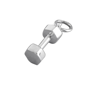Dumbbell Weight Charm Sterling Silver Sport Pendant | Charmarama