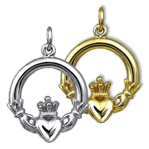 Irish Claddagh Symbol Pendant in Sterling Silver or Gold