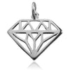 Diamond Symbol Charm in Sterling Silver | Silver Star Charms