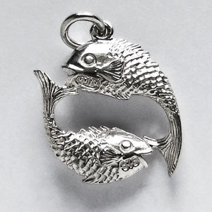 Pisces the Fish Charm Pendant in Sterling Silver or Gold