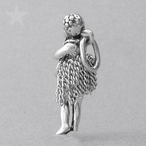 Hawaiian Hula Girl Charm Sterling Silver Pendant | Silver Star Charms
