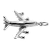 Jumbo Jet Aeroplane Charm in Sterling Silver or Gold