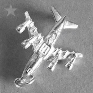 Jumbo Jet Aircraft Charm in Sterling Silver or Gold