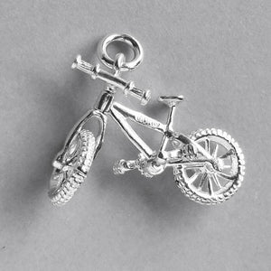 Moving Mountain Bike Charm in Sterling Silver or Gold