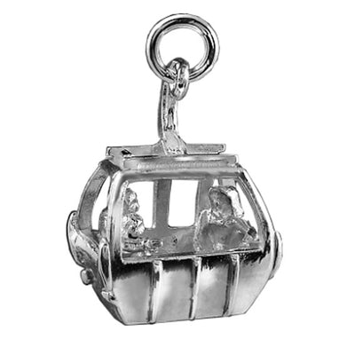 Ski Gondola Charm Sterling Silver or Gold Skiing Pendant | Silver Star Charms