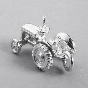 Moving Tractor Charm in Sterling Silver or Gold