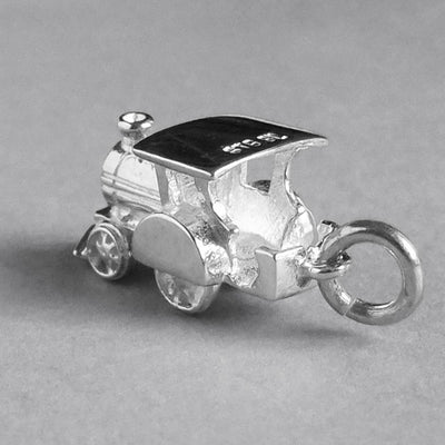 Moving Train Charm in Sterling Silver or Gold