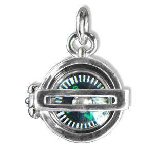 Working Compass Charm Pendant in Sterling Silver or Gold