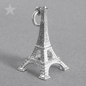 Eiffel Tower Paris France Charm Pendant in Sterling Silver or Gold