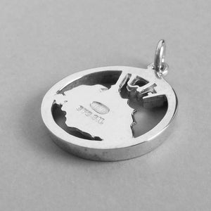 Fiji Map Charm Pendant in Sterling Silver or Gold