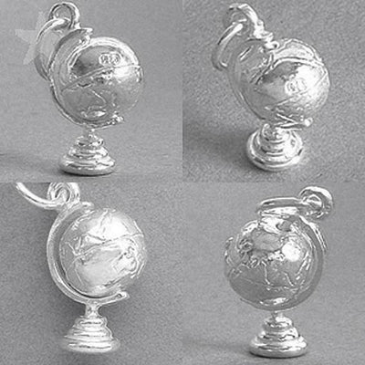 World globe charm 925 silver sterling pendant