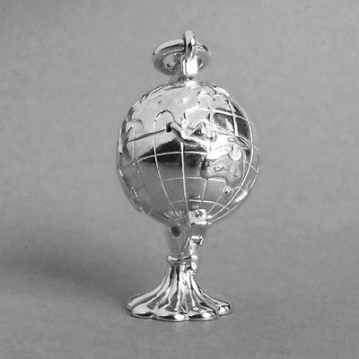Rotating Globe Charm in Sterling Silver or Gold