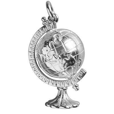 Rotating World Globe Charm in Sterling Silver or Gold