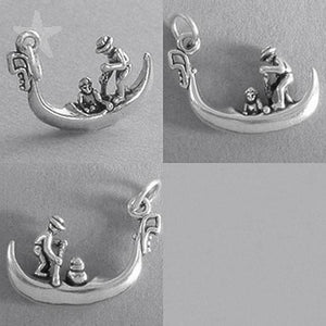 Gondola and gondolier charm 925 sterling silver pendant