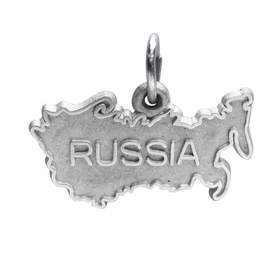 Russia Charm Sterling Silver Map Pendant | Silver Star Charms