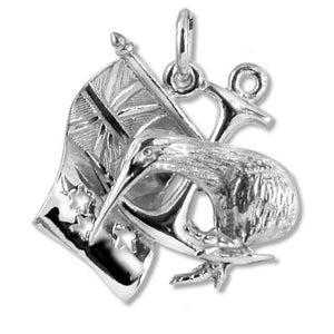 New Zealand Anchor Flag Kiwi Charm in Sterling Silver or Gold | Silver Star Charms