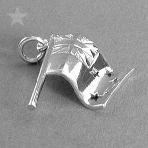 New Zealand NZ Flag Charm Pendant in Sterling Silver or Gold