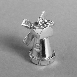 Moving Windmill Charm in Sterling Silver or Gold