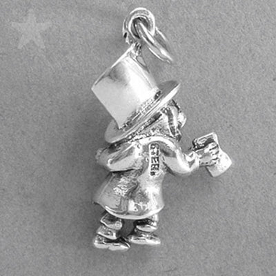 Sterling Silver Mad Hatter Charm Pendant