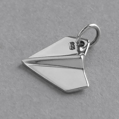Paper Plane Charm Sterling Silver Aeroplane Pendant | Silver Star Charms