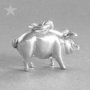 Sterling silver or gold pig money box charm