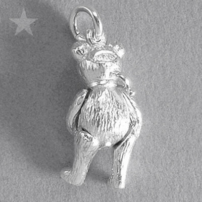 Moving Teddy Bear Charm Sterling Silver or Gold