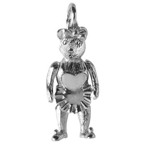 Moving Teddy Bear Charm in Sterling Silver or Gold