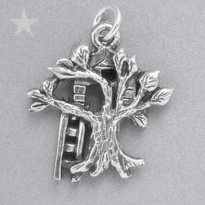 Sterling Silver Tree House Charm