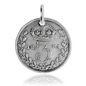 Victorian Threepence Coin Charm