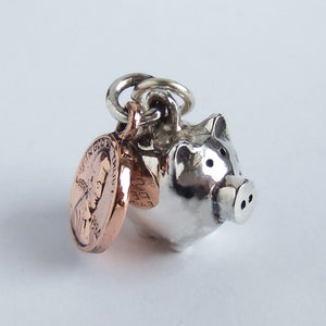 Pig money box and copper coin charm sterling silver pendant
