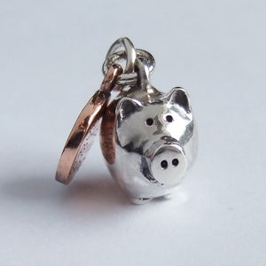Piggy bank and copper coin charm sterling silver pendant