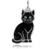 Vintage Black Enamel Cat Charm