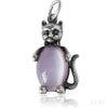 Vintage sterling silver and purple glass cat charm pendant