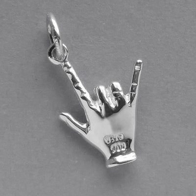 I love you hand symbol charm sterling silver 925 or gold pendant
